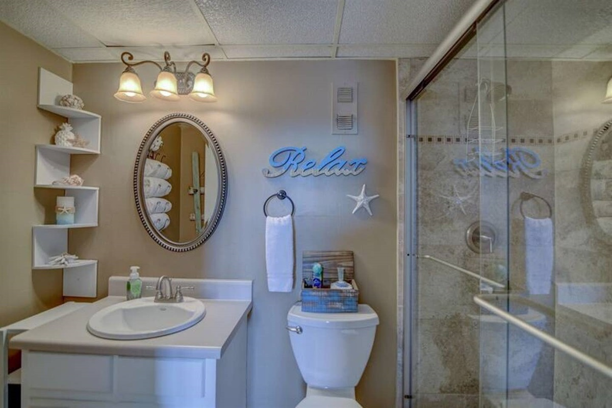 Bathroom with remodeled beautiful shower