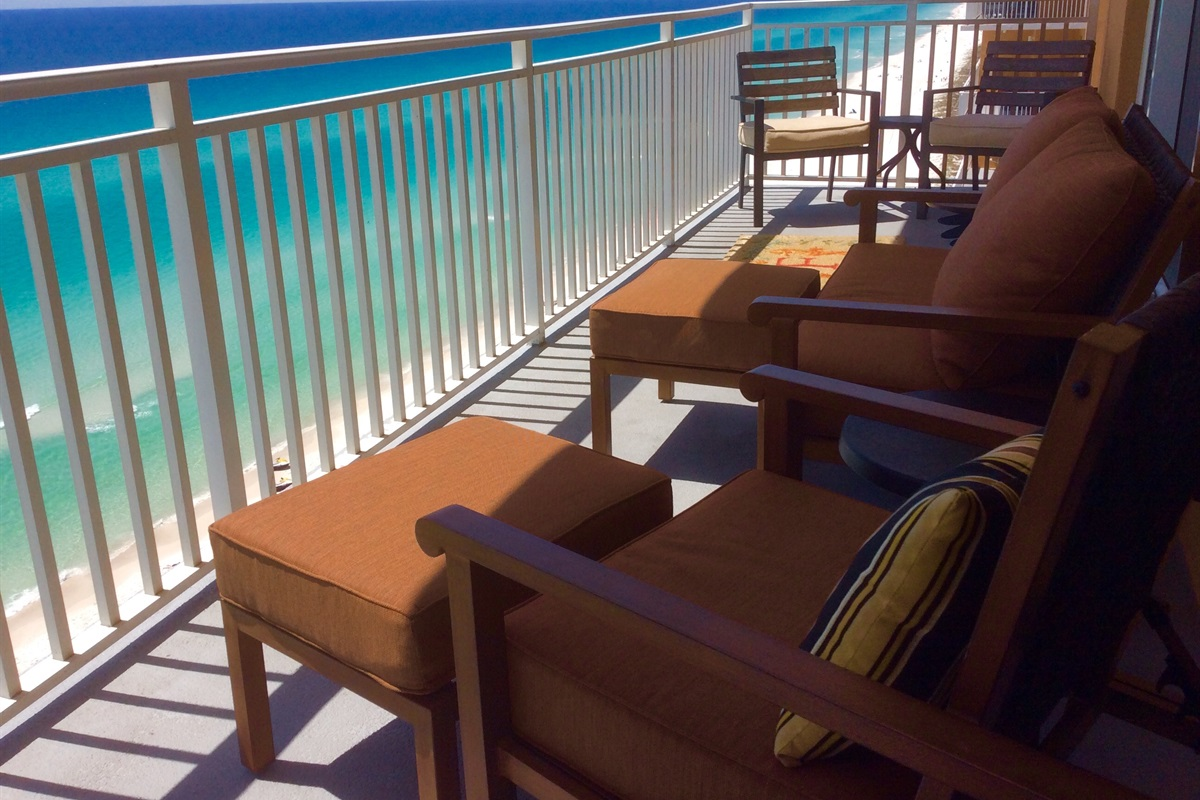 Main balcony with comfortable cushioned seating