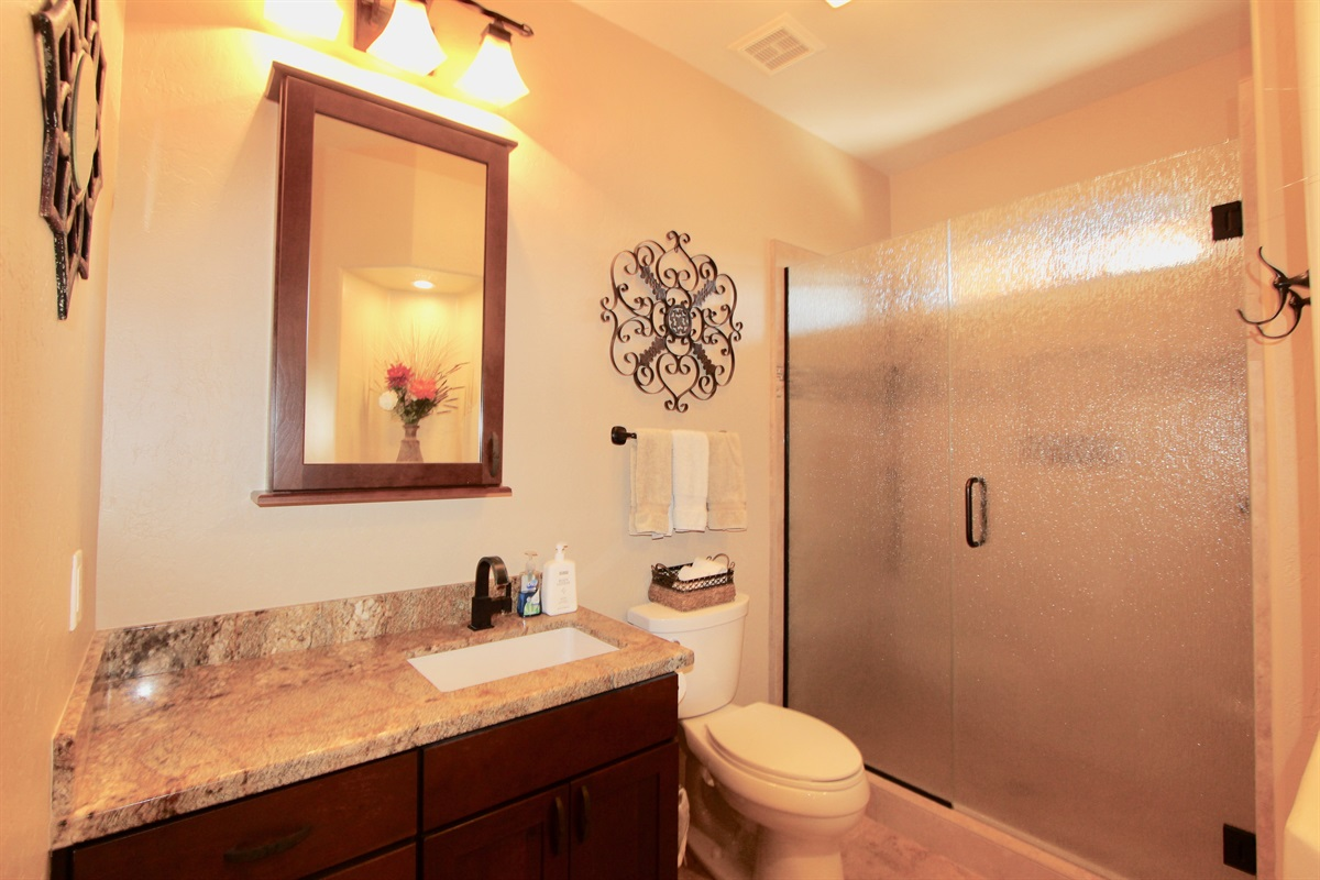 Guest bathroom with walk in shower.