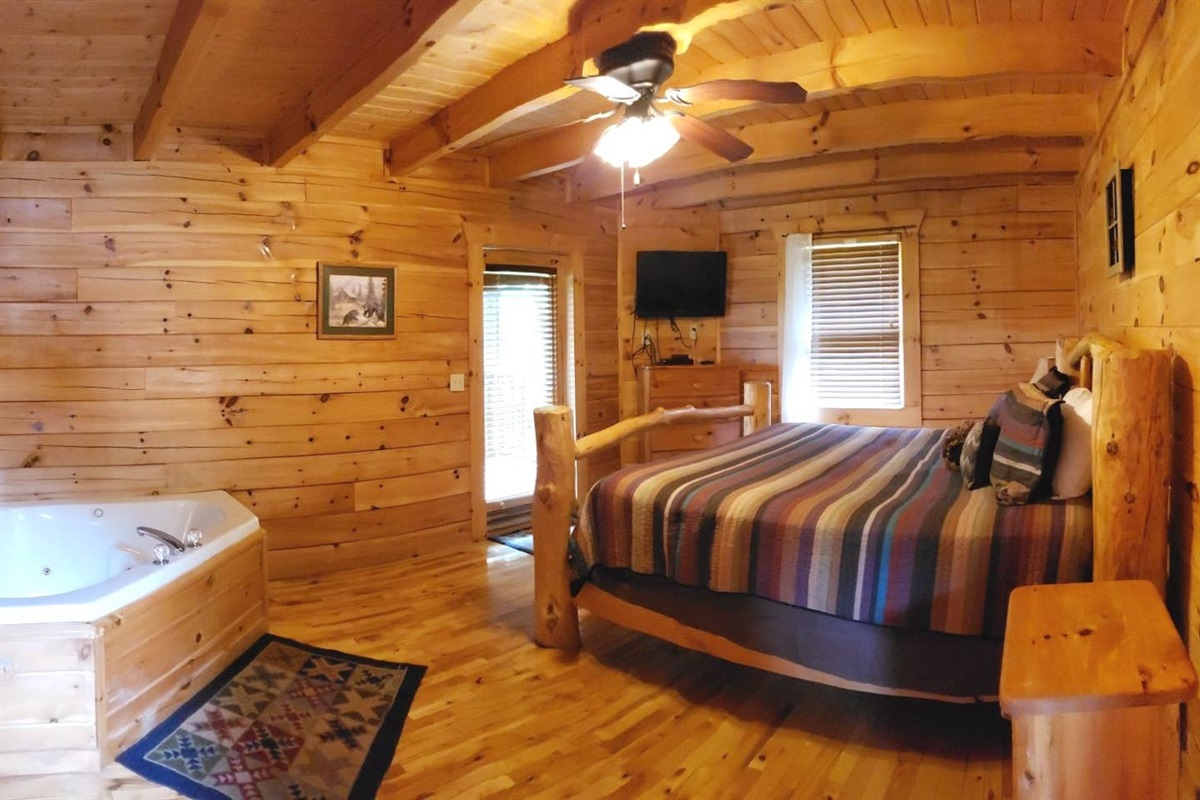 Master Suite with King bed and Jacuzzi Tub with door to the private back patio.