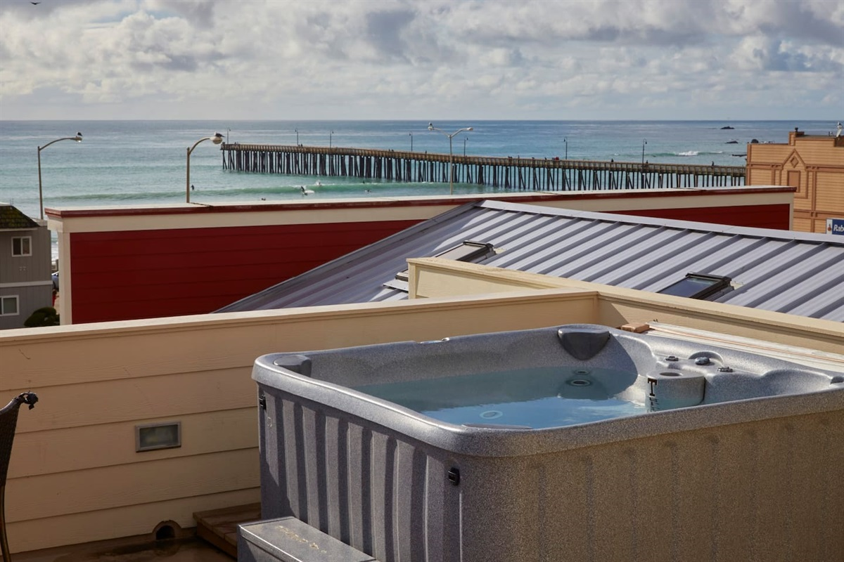 private roof top deck with hot tub