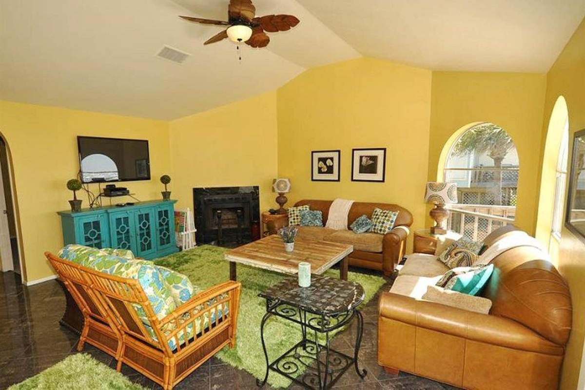 Living Area with Bright & Beachy Decor