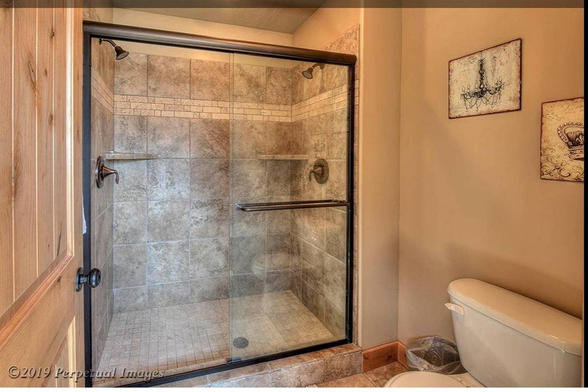Master bath dual-headed shower