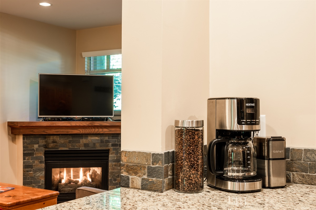 Enjoy complimentary coffee, tea and hot chocolate next to a cozy gas fireplace.