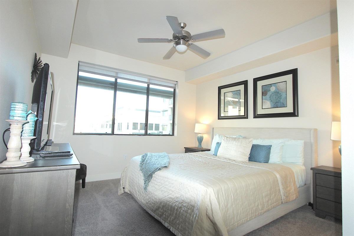 Master bedroom with custom linens & New King bed.