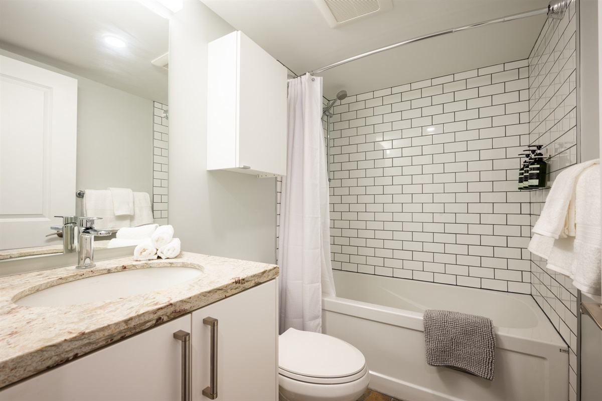 Bathroom - Shower/tub combo, full mirror, shampoo, conditioner and body wash included.