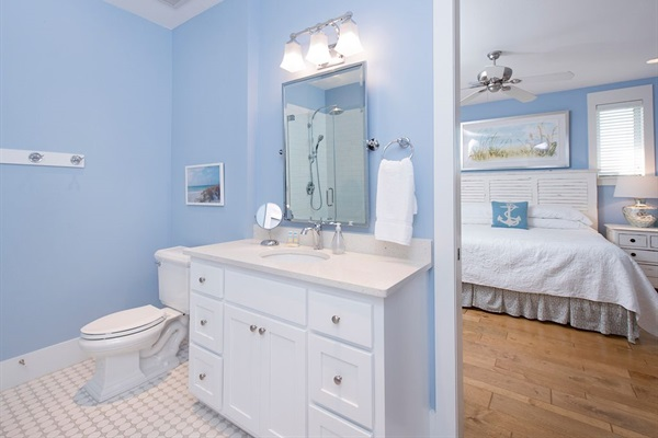 2nd Floor Master Bath with 2 sinks, shower and closet with large chest