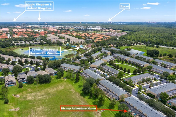 Birds eye view of how close we are to Disney Parks! Plus, we are 3-5 short minute walk to the community clubhouse and amentities.