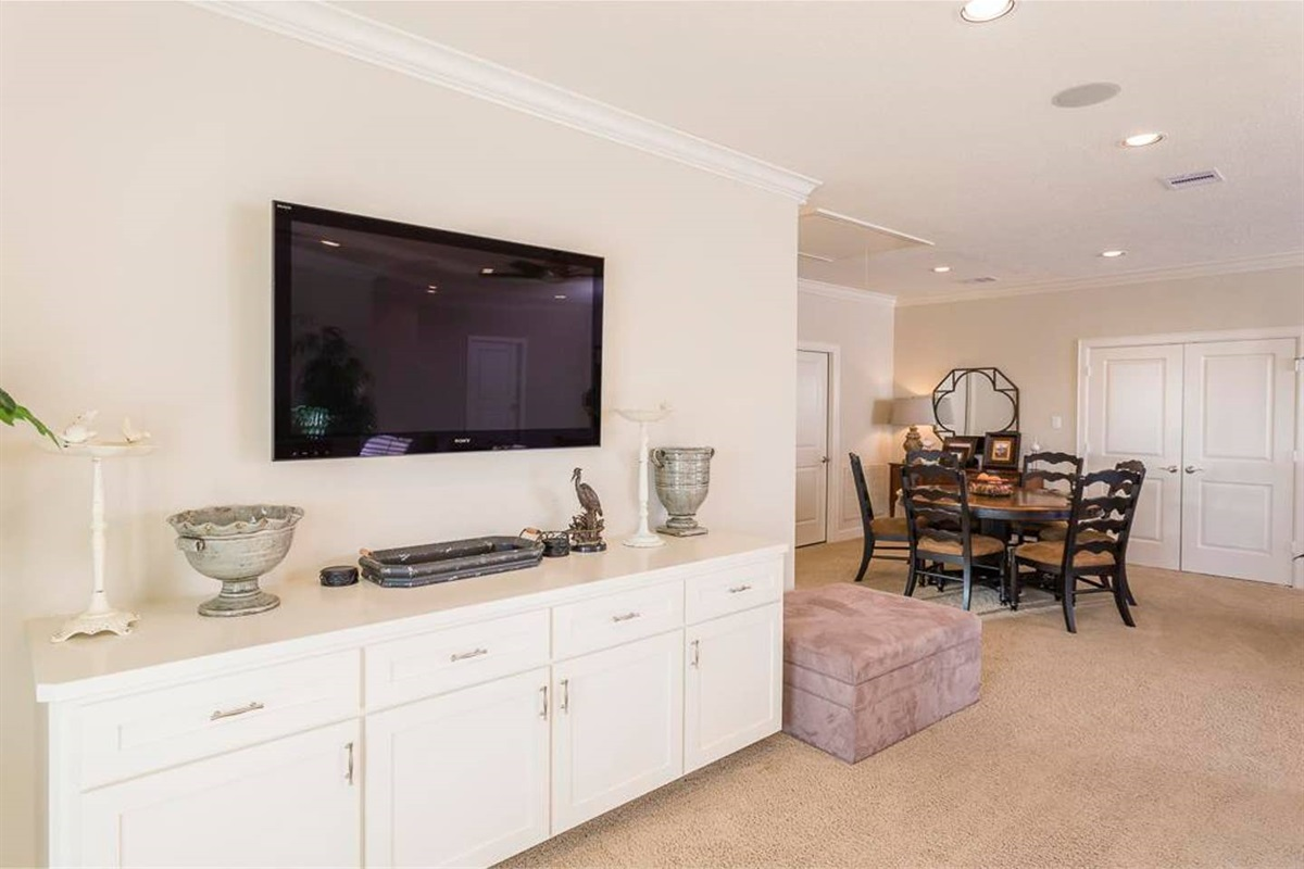 Second Living Area Offers Large Flat Screen & Game Table