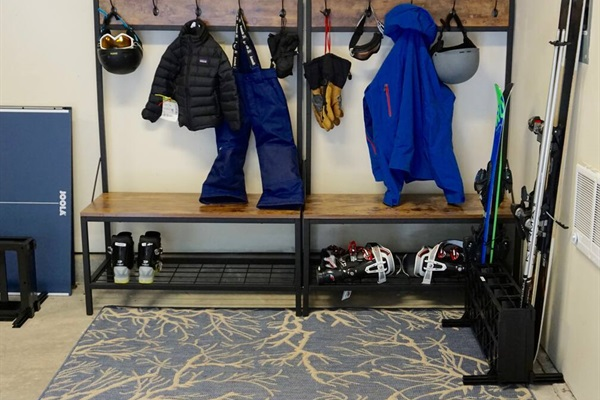 heated garage is the perfect spot to stash your ski & board gear