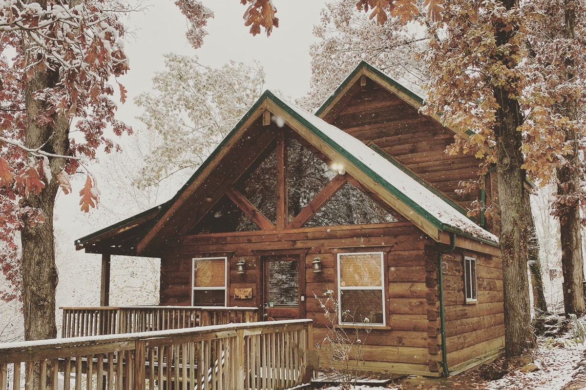Snow on the cabin