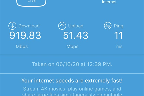 Gigabit high-speed internet for 4K movie streaming or working from Chalet Blue