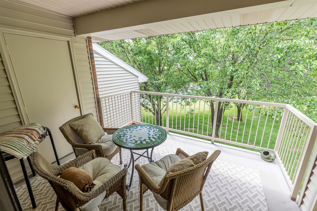 Enjoy the serenity of our quiet, shaded deck