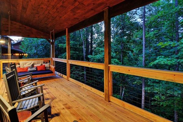 Main level deck at dusk