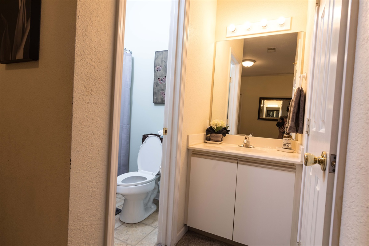The second bedroom's bathroom allows privacy. Great for friends sharing a place!