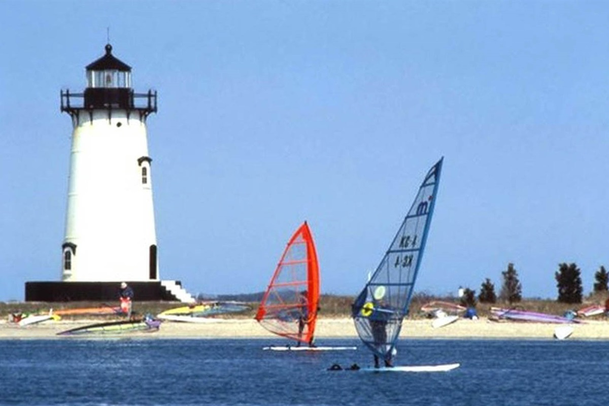 Windsurfers at nearby lighthouse beach