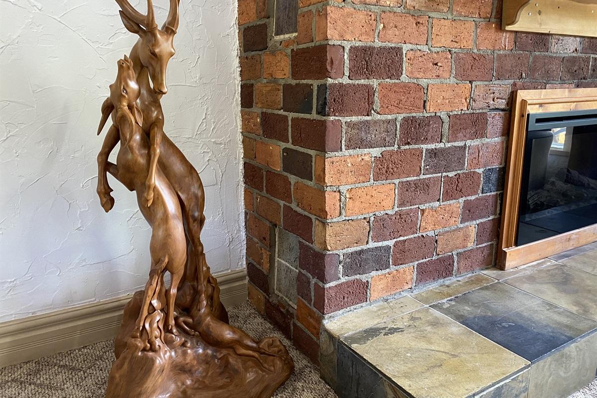 A masterpiece wood carving of deers