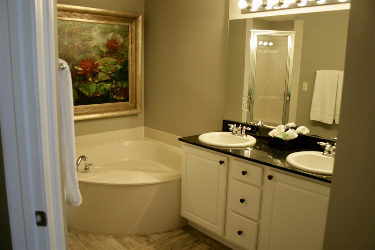 Master Bath with garden tub and double vanity sinks