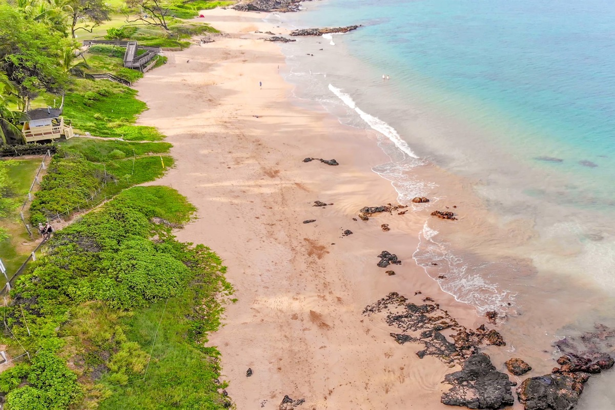 This amazing beach awaits -- Kamaole I, right across the street. Warm-water swimming, snorkeling, and fun in the sun