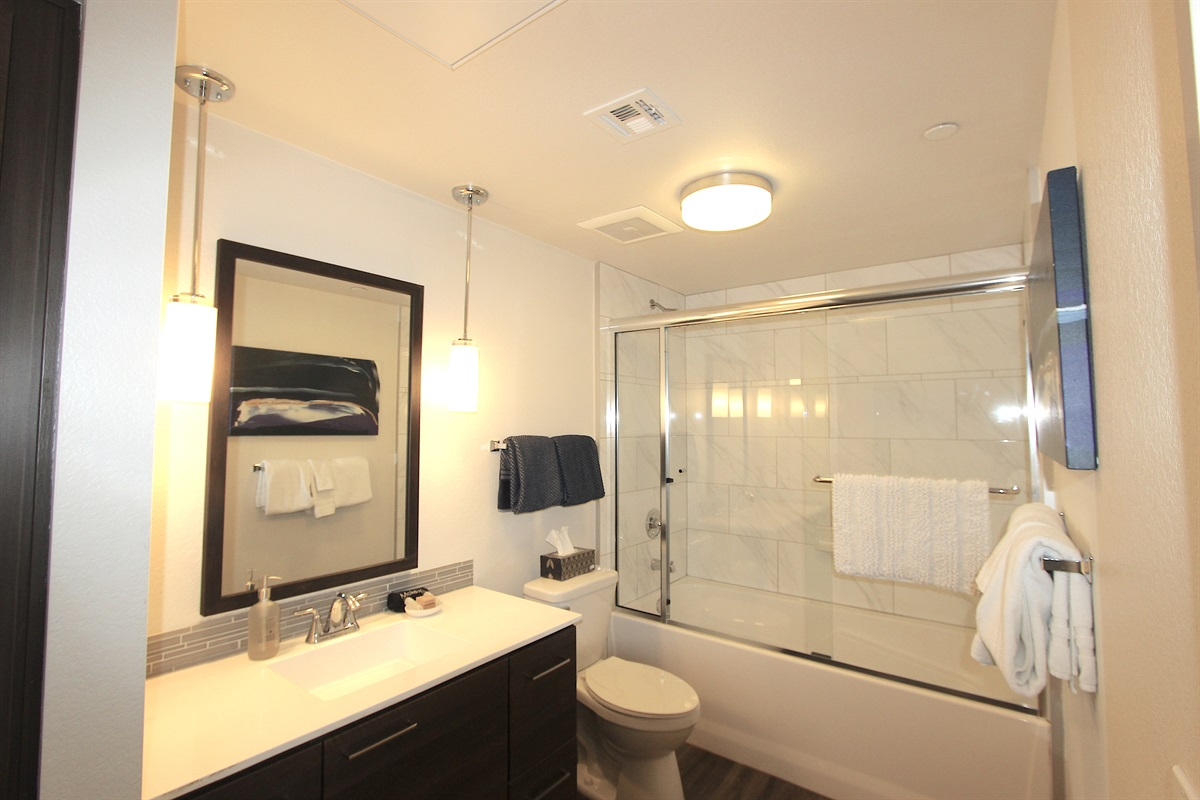 Master bathroom with glass shower.