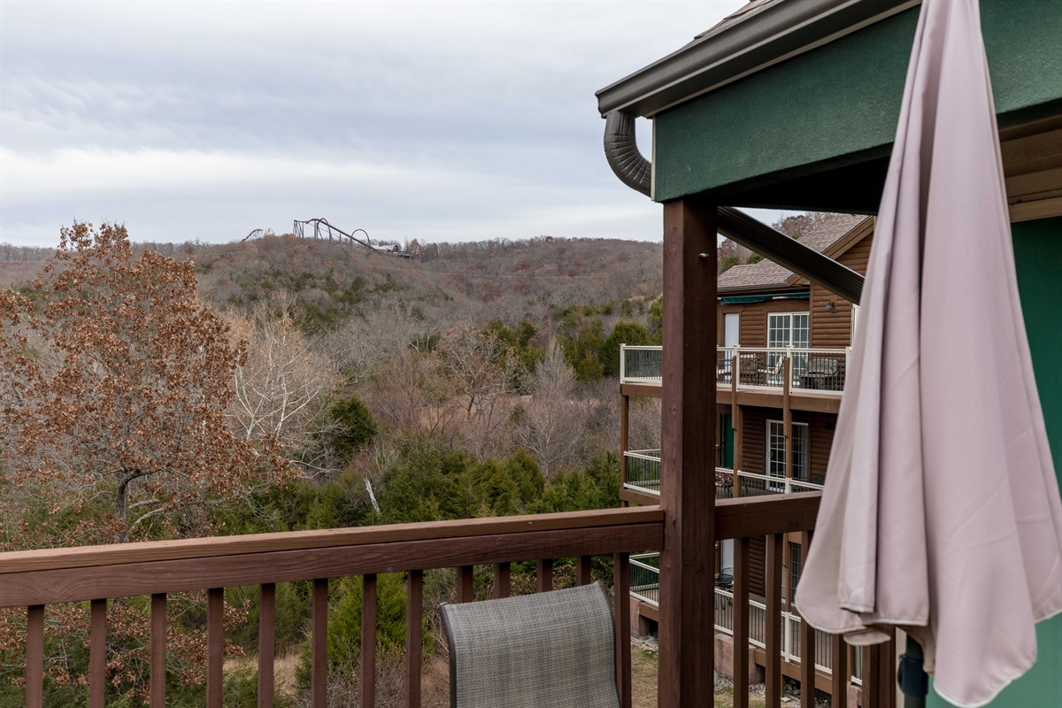 Enjoy the sounds of Silver Dollar City right from our balcony!