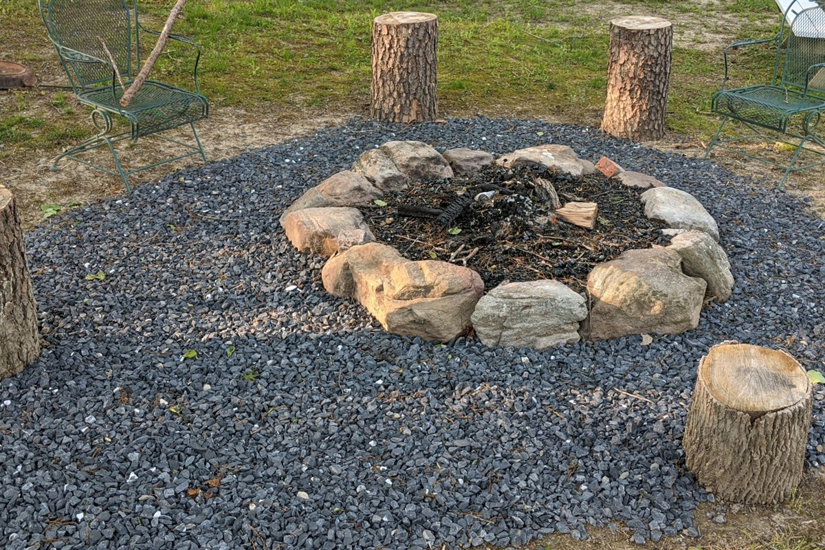 Campfire ring and stumps ready for hanging out