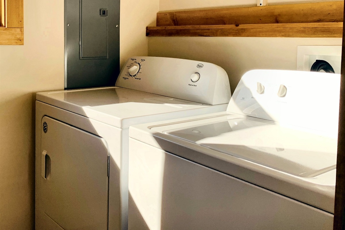 Spacious laundry area for when the kids get muddy in the river