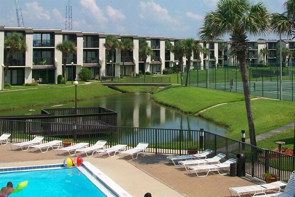 Complex, pond, pool, tennis courts