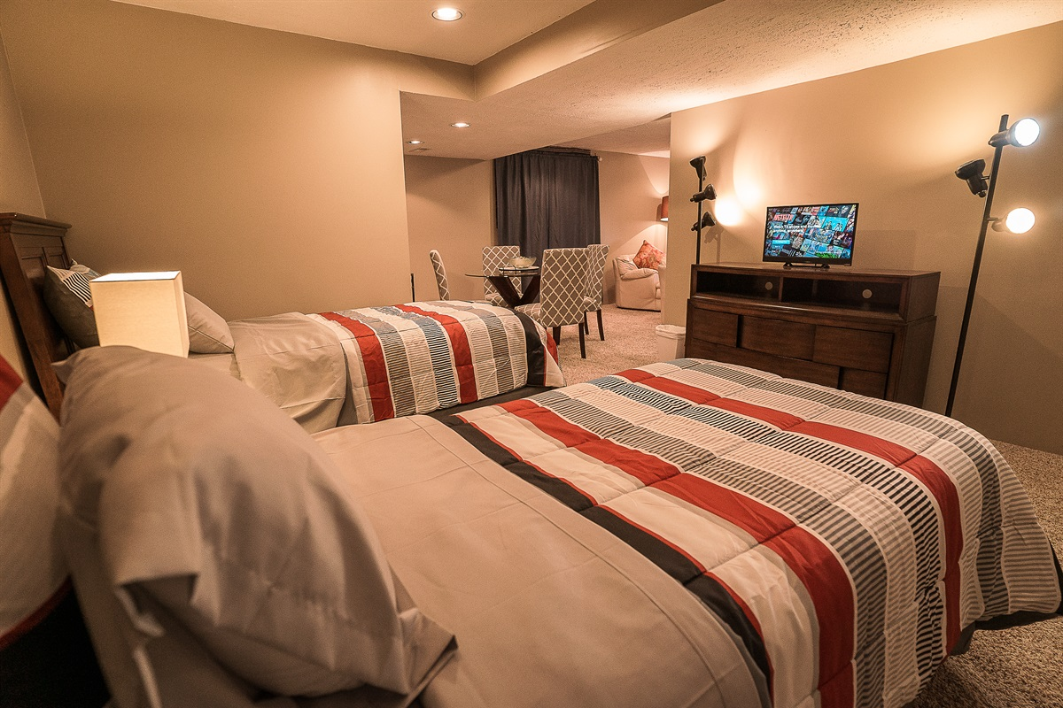 Basement Suite Twin Beds with TV