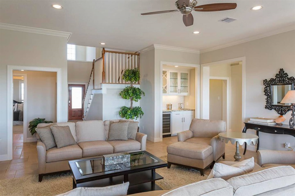 Living Area with Wet Bar in the Background
