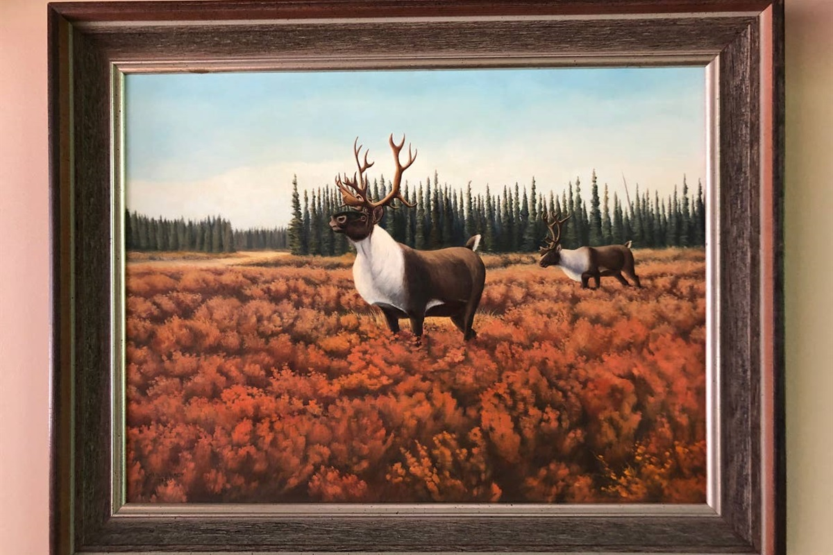 Woodland caribous - original oil painting (1973) by CHARLES H. LACY (1933 – 2013), an artist, biologist, conservationist, hunter, photographer, a life-long student, researcher, and more.