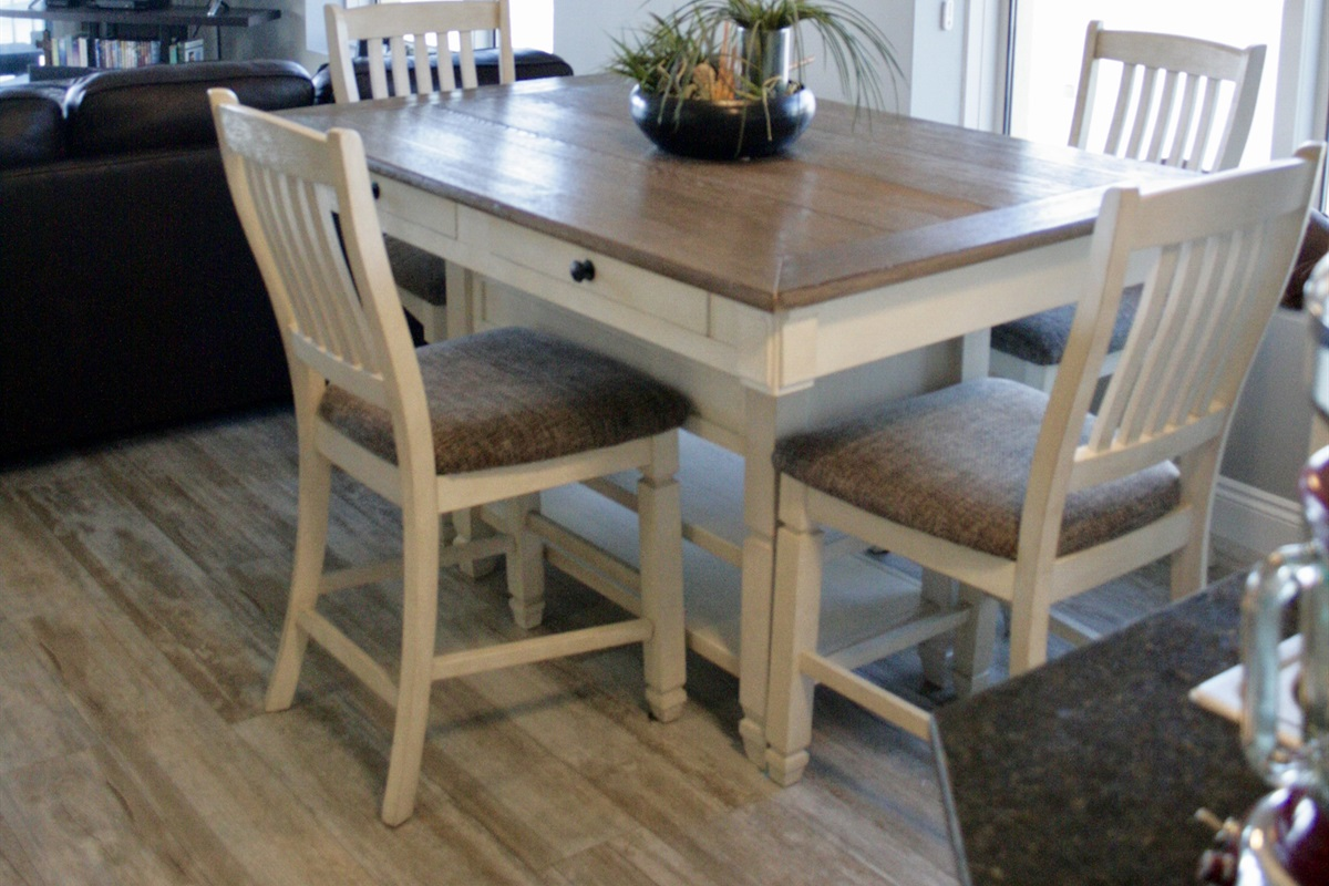 Large Dining Table with Storage Drawers and Shelves