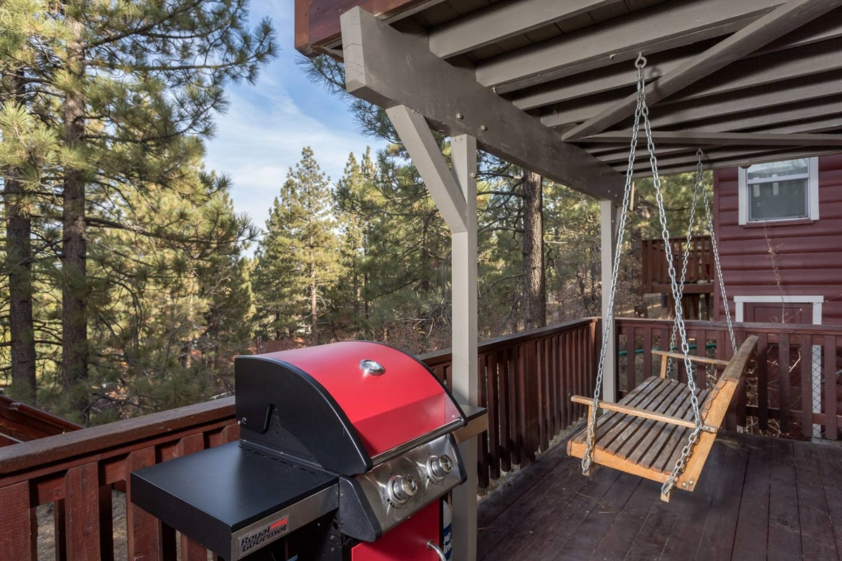 Outside back patio with swing, grill and hot tub!