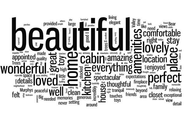 word cloud from reviews & guest book entries