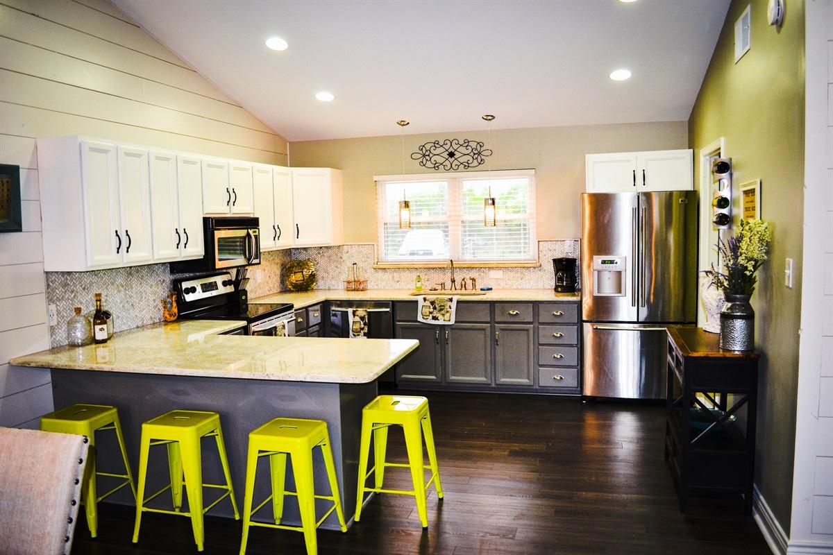 Renovated farmhouse kitchen.