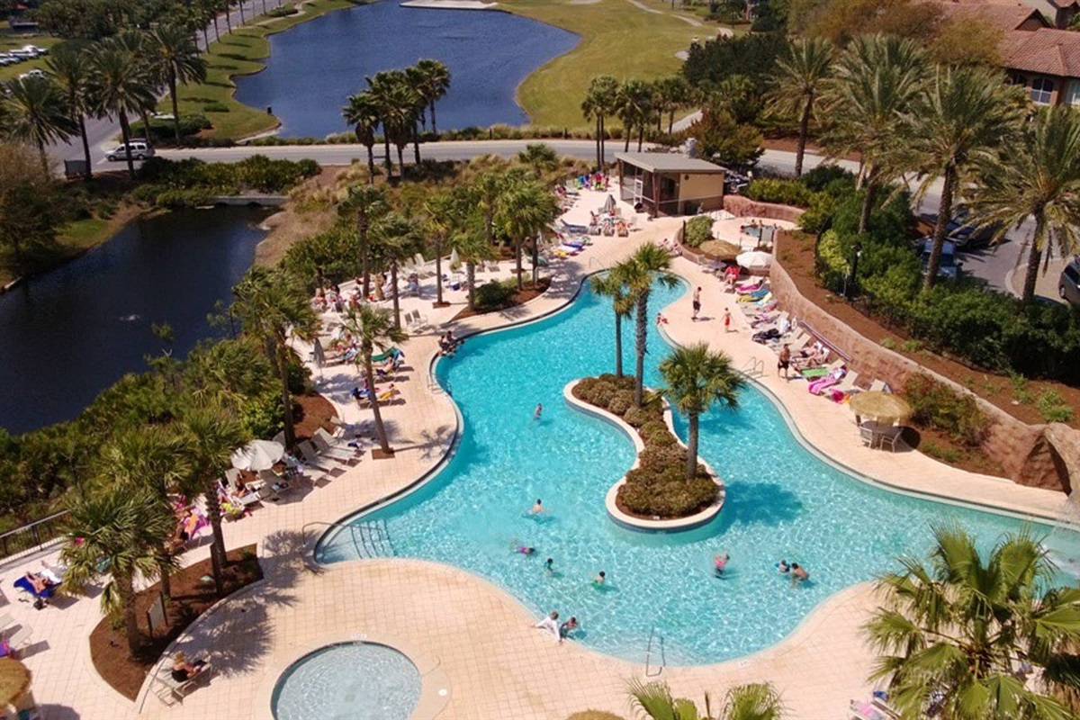 Luau Pool is salt-water and is widely accepted as the best pool in Sandestin Resort.