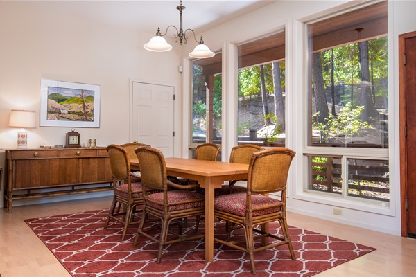 dining room with large walk in pantry & deck access