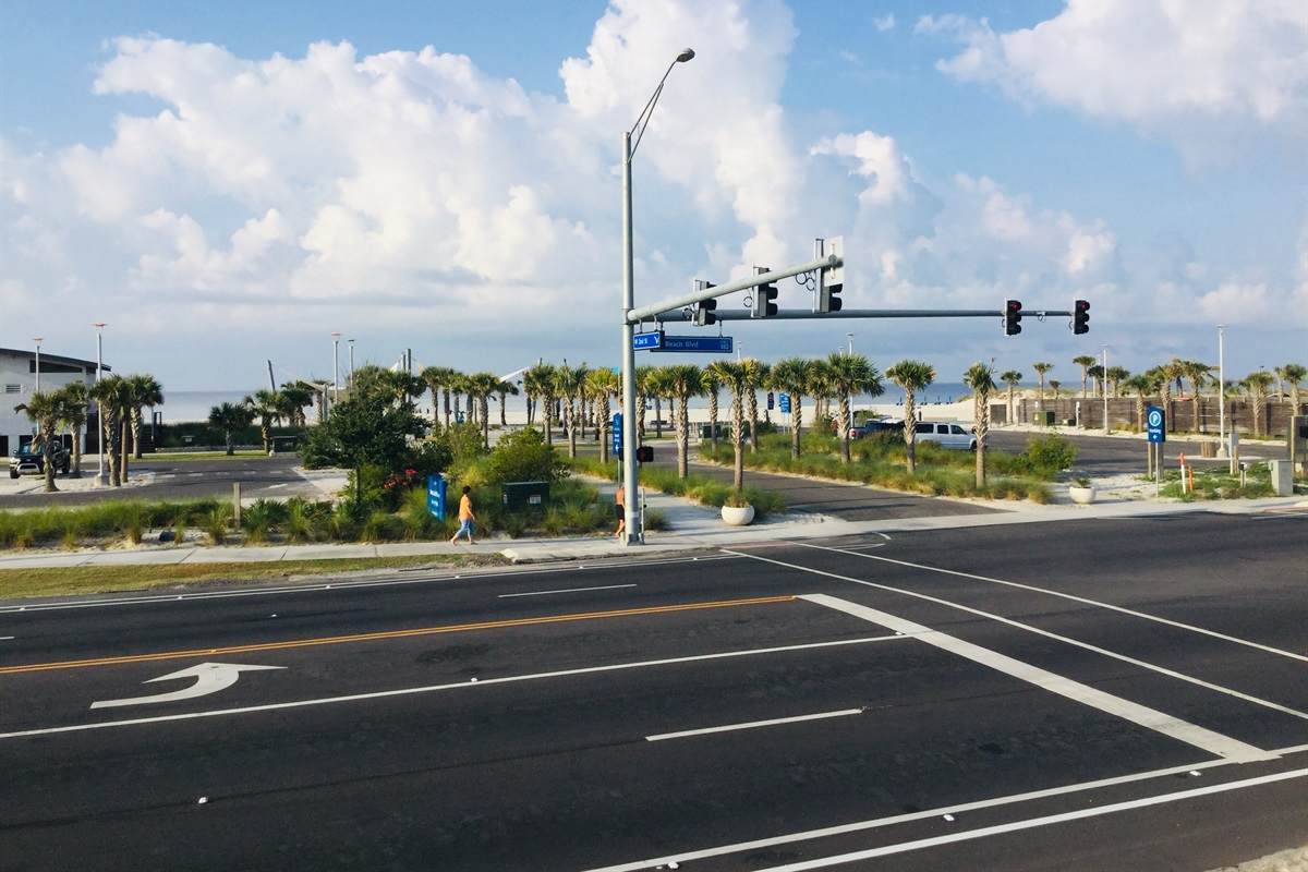 View of the cross walk to the beach.
