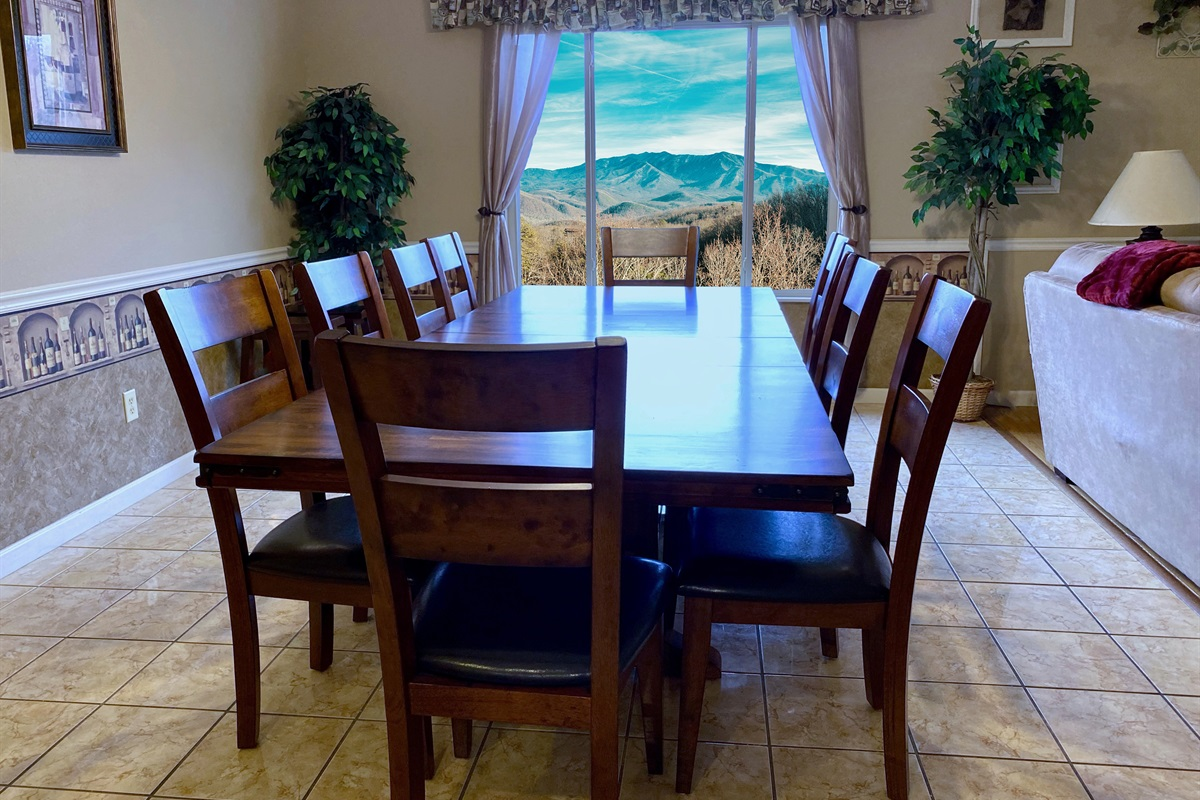 Dining area - picture windows with Mt. LeConte
