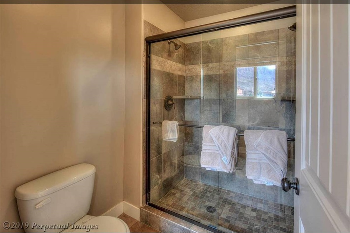Master bath dual-headed shower