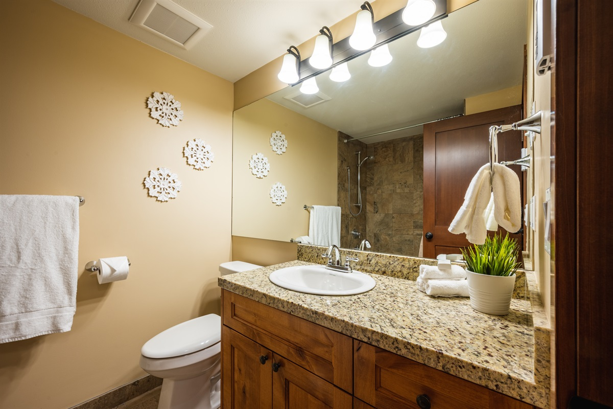 Master Ensuite Bathroom - Full shower and tub, fully renovated, in-floor heating.