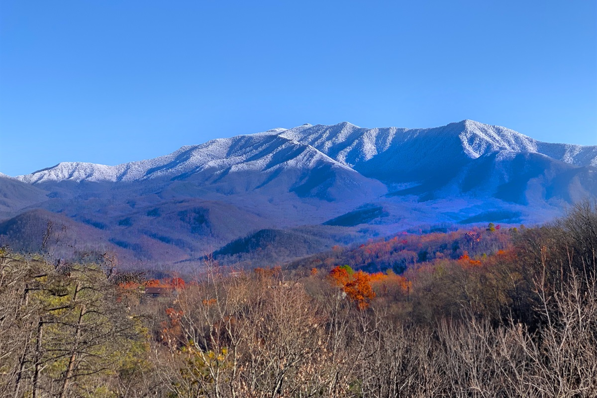 Winter view of Mt. LeConte from the deck and dining area